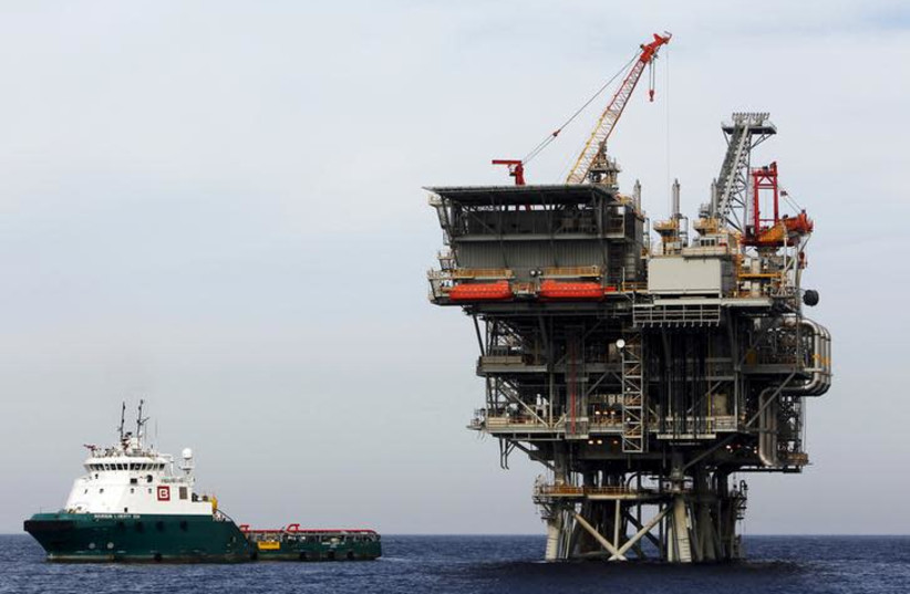 An Israeli gas platform, controlled by a U.S.-Israeli energy group, is seen in the Mediterranean sea, some 15 miles (24 km) west of Israel's port city of Ashdod (photo credit: REUTERS/AMIR COHEN)