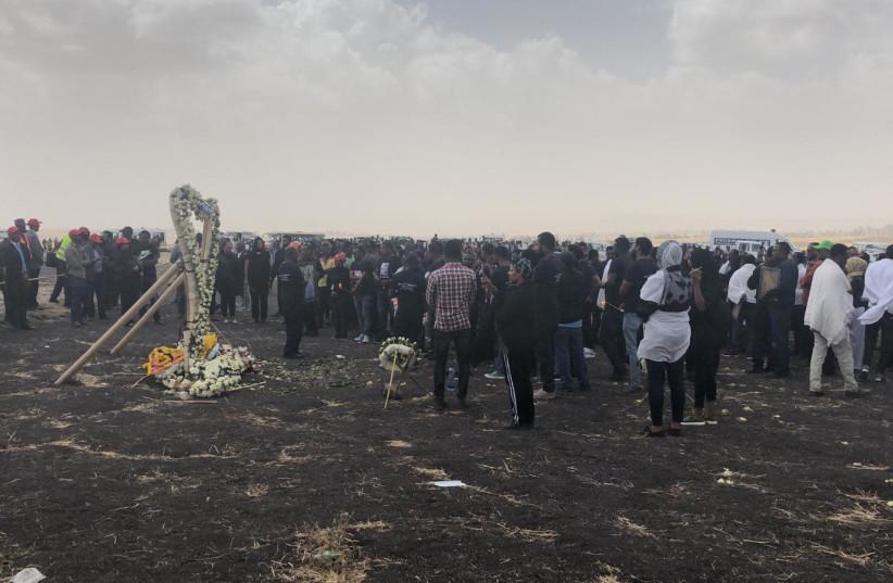 Picture of the Ethiopian Airlines crash site in Ethiopia (photo credit: ZAKA)