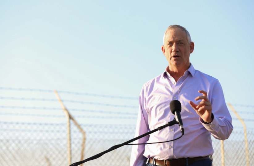 Former IDF chief of staff and Blue and White Party Leader Benny Gantz speaks following the March 14 rocket launches towards central Israel, 2019. (photo credit: YANIR COZIN / MAARIV)