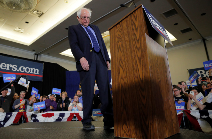 Democratic 2020 U.S. presidential candidate and U.S. Senator Bernie Sanders (I-VT) takes the stage at a campaign rally in Concord, New Hampshire, U.S., March 10, 2019. (photo credit: BRIAN SNYDER / REUTERS)