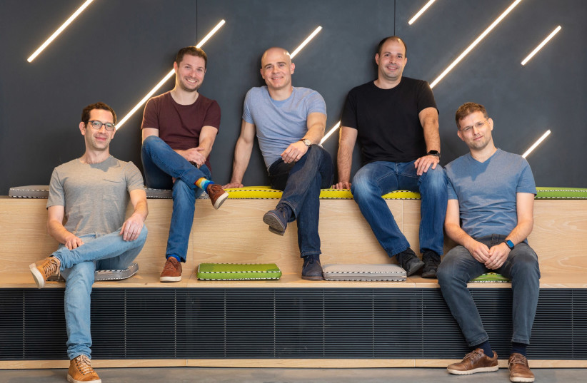 (From Left) Lightricks co-founders Itai Tsiddon, Yaron Inger, Zeev Farbman, Amit Goldstein and Nir Pochter (photo credit: Courtesy)