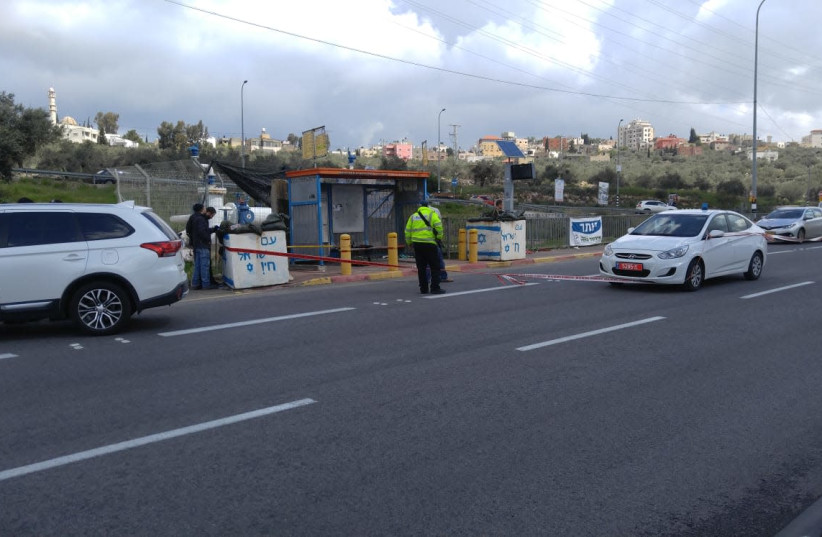 Ariel Junction after a reported terror attack, March 17th, 2019 (photo credit: RAFI AVITAL/TPS)