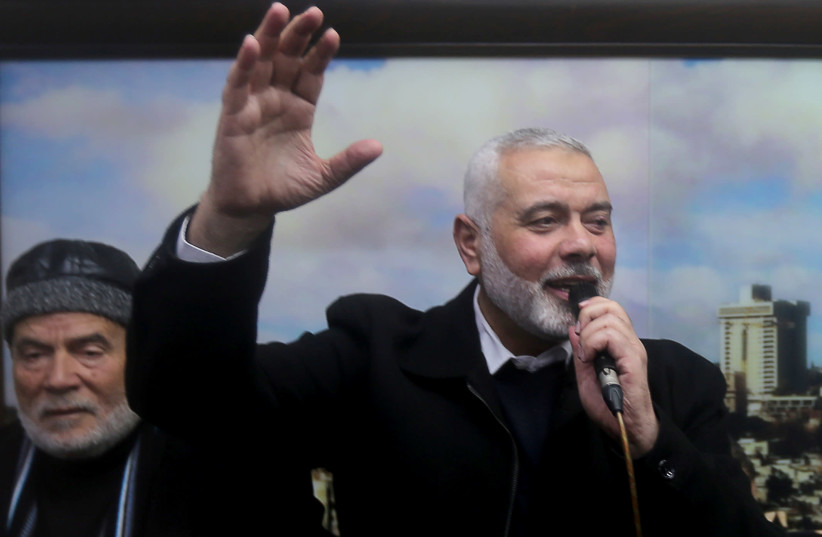 Palestinian Hamas Chief Ismail Haniyeh in Gaza City February 28, 2019 (photo credit: REUTERS/IBRAHEEM ABU MUSTAFA)