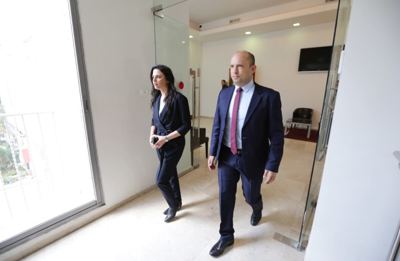 New Right co-leaders Naftali Bennett (R) and Ayelet Shaked (L) enter a press conference in Tel Aviv, March 17th, 2019 (photo credit: MOR ALONI/MAARIV)