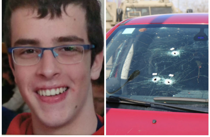 Staff Sergeant Gal Kaidan and an Israeli vehicle that was hit by the terrorist's shooting (photo credit: IDF SPOKESPERSON'S UNIT/EITAN SHWEIBER/TPS)