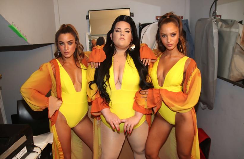 Noa Beny, Netta Barzilai and Neta Alchimister pose backstage at the Bananhot fashion show last week (photo credit: OR GHEFEN)