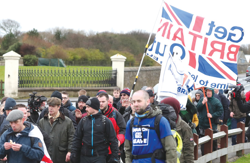 BREXIT PROTESTERS march in the UK (photo credit: REUTERS)