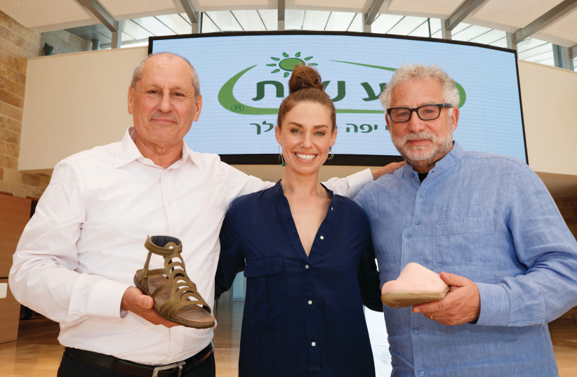 FROM RIGHT TO LEFT: Teva Naot CEO Michael Iluz, spokesmodel Dana Grotsky and owner Steve Lax  (photo credit: ANCHO GOSH)