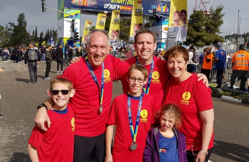 The author and family at the Jerusalem Marathon, March 15th, 2019 (photo credit: Courtesy)