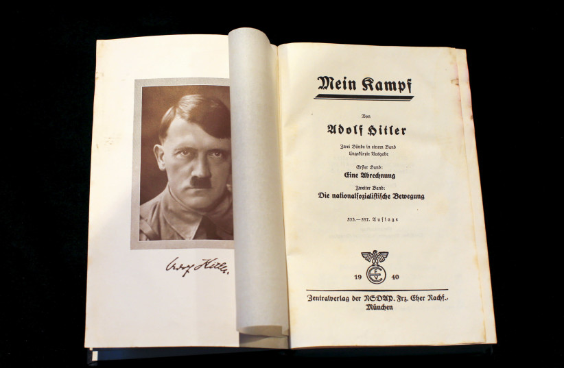 """A copy of Adolf Hitler's book """"Mein Kampf"""" (My Struggle) from 1940 is pictured in Berlin, Germany, in this picture taken December 16, 2015 (photo credit: REUTERS/FABRIZIO BENSCH)"""