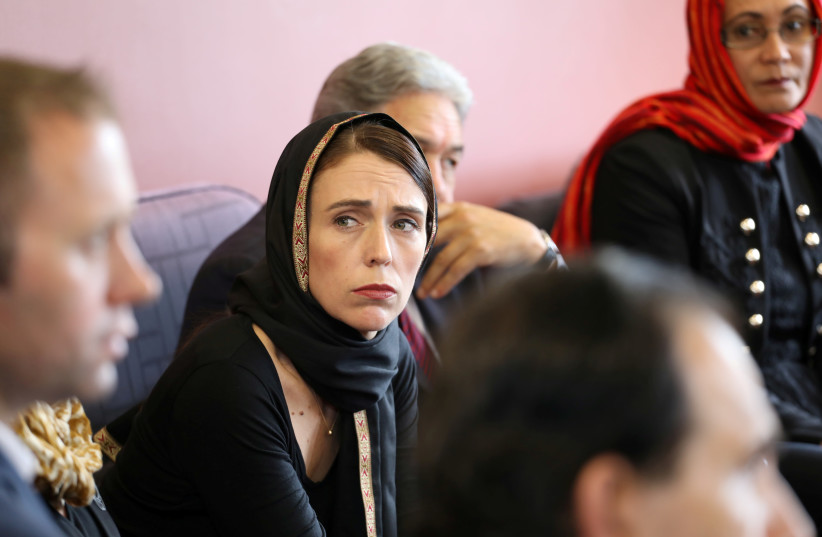 New Zealand Prime Minister Jacinda Ardern meets representatives of the Muslim community at Canterbury refugee centre in Christchurch, New Zealand March 16, 2019.  (photo credit: REUTERS)