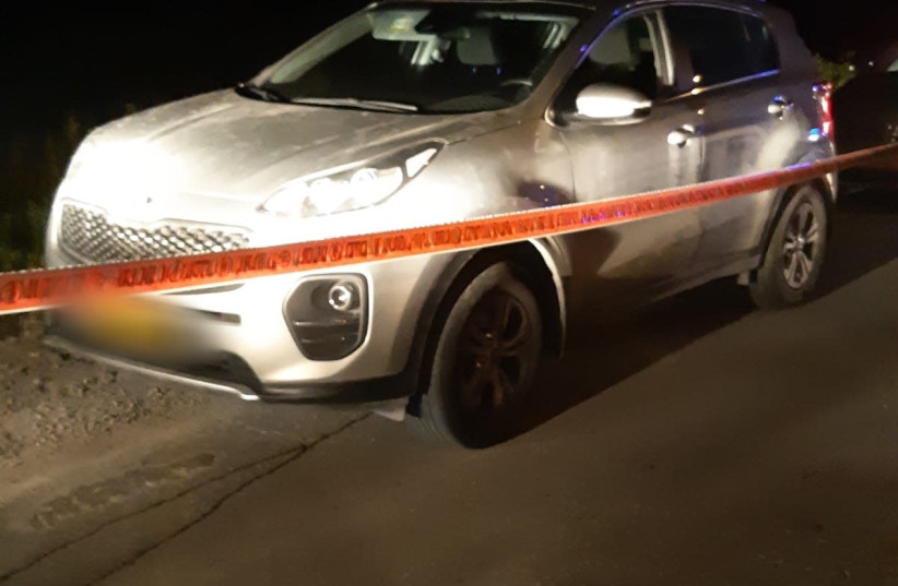 Car used in ramming attack near Jerusalem.  (photo credit: POLICE SPOKESPERSON'S UNIT)