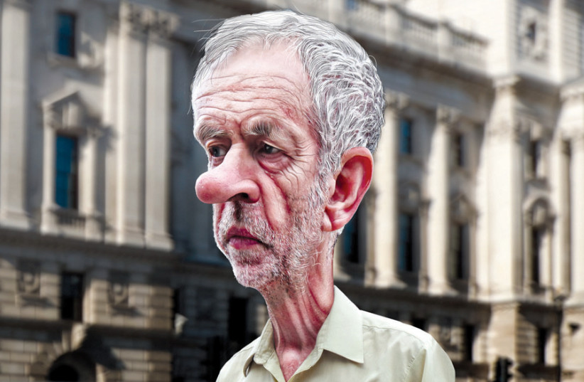 A CARICATURE of Labour Party leader Jeremy Corbyn. (photo credit: DONKEYHOTEY/FLICKR; CARICATURE ADAPTED FROM GARRY KNIGHT/FLICKR; BACKGROUND ADAPTED FROM LUTEFISK73/)