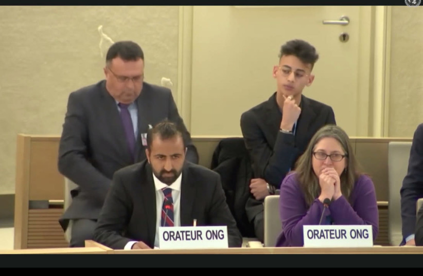 Kasim Hafeez at UN Human Rights Council (Screenshot/Daniel Ostrem) (photo credit: SCREENSHOT/DANIEL OSTREM)