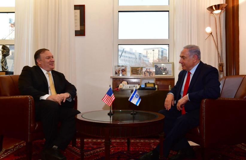 Prime Minister Benjamin Netanyahu convenes with US Secretary of State Mike Pompeo in Jerusalem (photo credit: KOBI GIDEON/GPO)