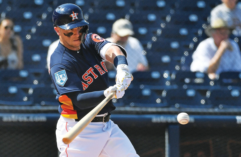 THE HOUSTON ASTROS and star Jewish third baseman Alex Bregman agreed on a six-year, $100-million contract extension yesterday (photo credit: REUTERS)