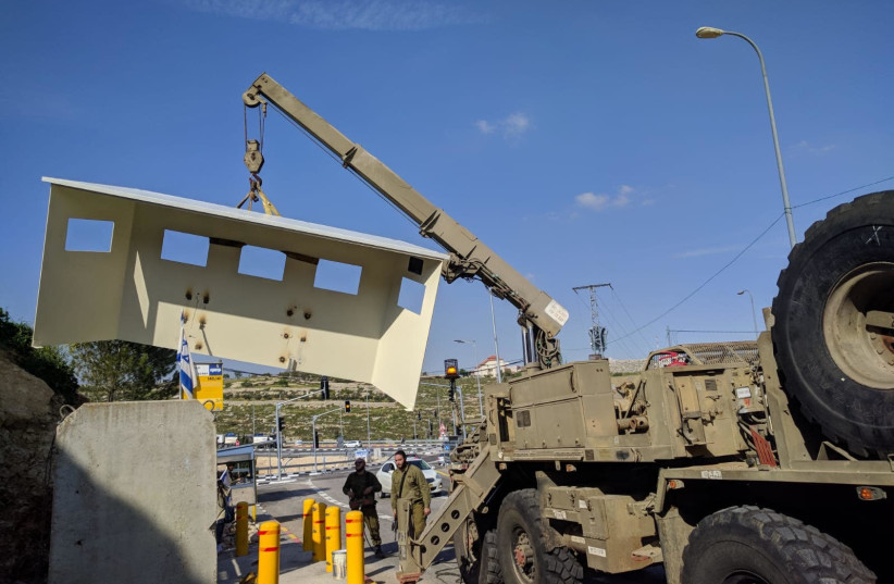 IDF removes fortification at the Givat Assaf junction (photo credit: YESHA COUNCIL)