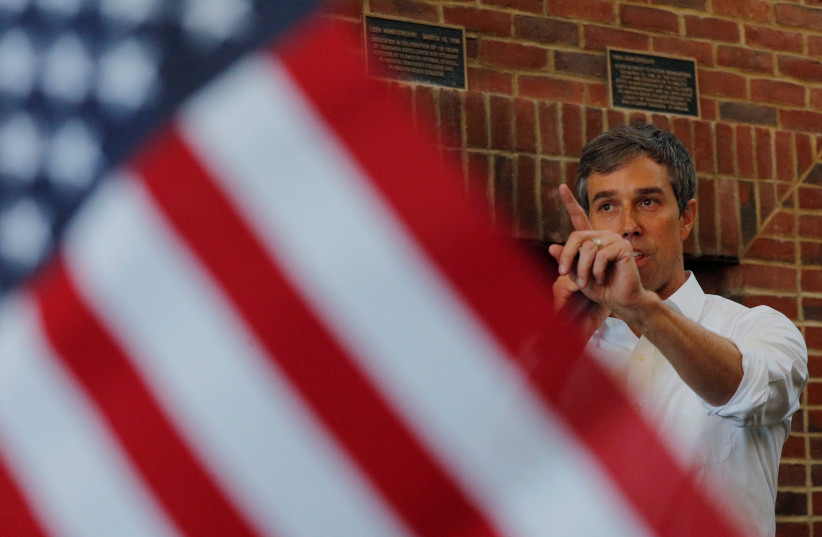 Democratic 2020 U.S. presidential candidate O'Rourke speaks in Plymouth (photo credit: BRIAN SNYDER / REUTERS)