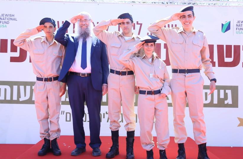Shachak Shriki, Liron Nathan, Liel Katzav and Roi Kaufman at their IDF induction ceremony (photo credit: Courtesy)