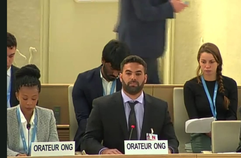 Ravid Elfassi at the UN Human Rights Council (photo credit: MY TRUTH)