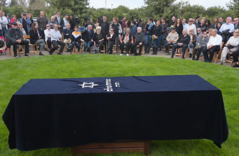 Coffin of late Mossad agent Rafi Eitan as he was laid to rest on Sunday March 24 2019  (photo credit: A. SHOSHANI)