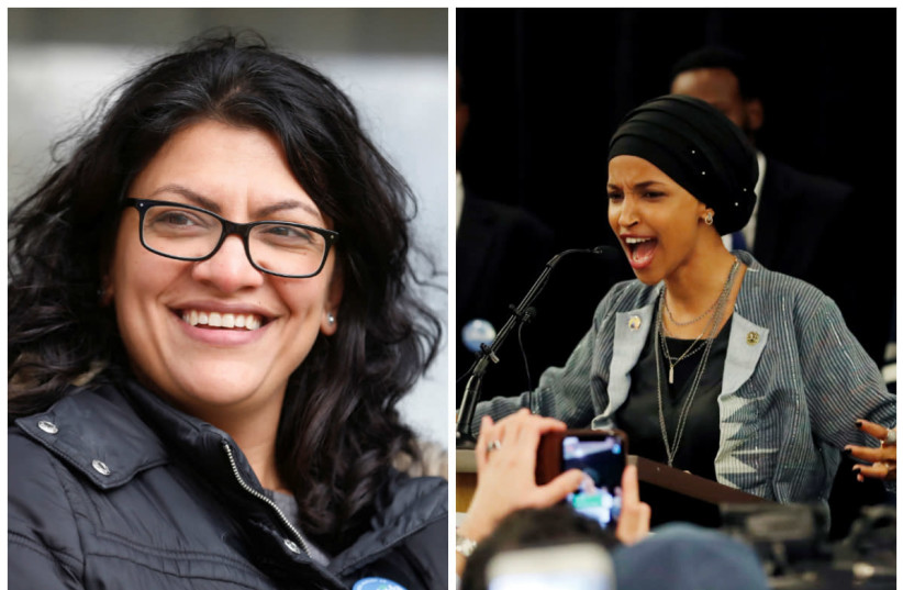 Congresswomen Rashida Tlaib and Ilhan Omar (photo credit: REUTERS/REBECCA COOK AND ERIC MILLER/REUTERS)