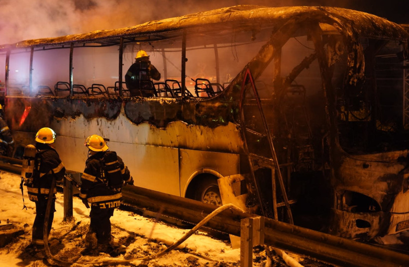 An Israeli bus burst into flames and was totally destroyed on Route 55 at the Jit junction in the Samaria region on March 24, 2019 (photo credit: HILEL MEIR/TPS)
