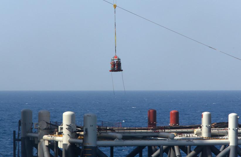 A natural gas platform of the coast of Israel. (photo credit: REUTERS)