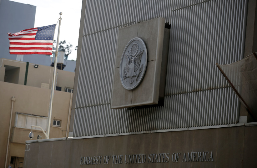 A general view shows the U.S. Embassy in Tel Aviv (photo credit: AMIR COHEN/REUTERS)