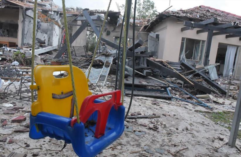 The family home hit by Hamas rocket  (photo credit: AVSHALOM SASSONI)