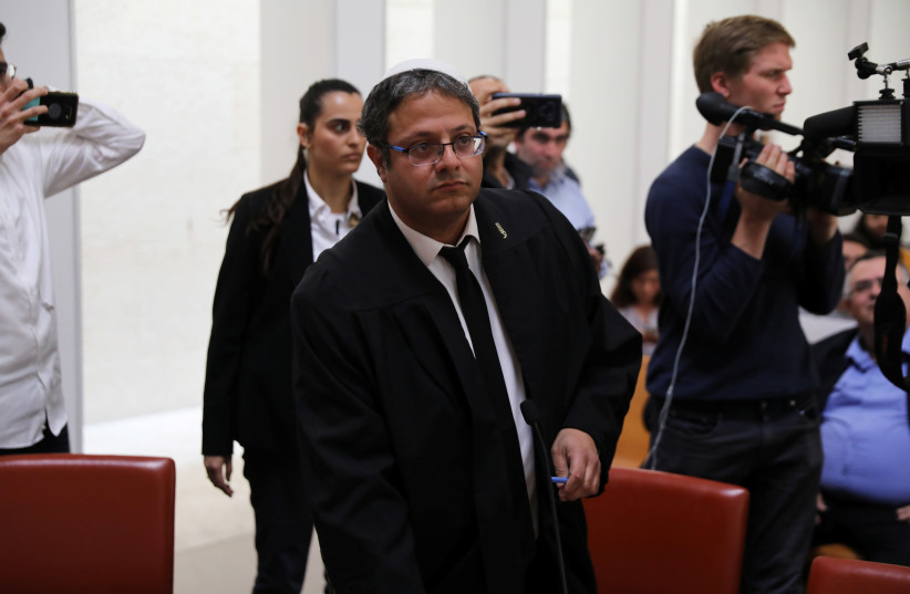 Itamar Ben-Gvir from the Otzma Yehudit party, attends a hearing at Israel's Supreme Court in Jerusalem March 13, 2019 (photo credit: AMMAR AWAD / REUTERS)