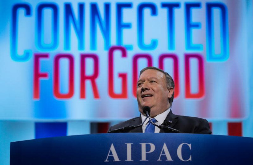 US Secretary of State Mike Pompeo speaks at the American Israel Public Affairs Committee (AIPAC) policy conference in Washington DC, March 25, 2019 (photo credit: BRENDAN MCDERMID/REUTERS)