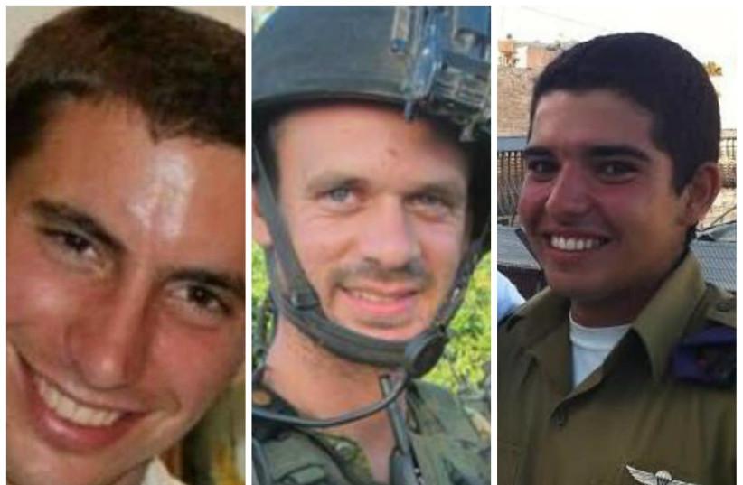 IDF soldiers Hadar Goldin, Benaya Sarel and Liel Gidoni died fighting Hamas terrorists in 2014 (photo credit: IDF SPOKESMAN'S OFFICE)