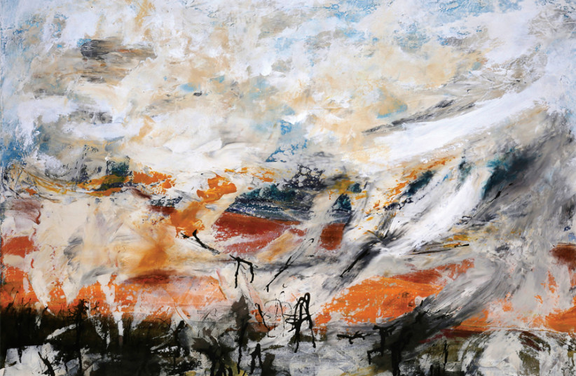 VADIM LIDIN 'A storm of Epic Proportions' – acrylic and ink on canvas, 100 cm x 70 cm (photo credit: VADIM LIDIN)