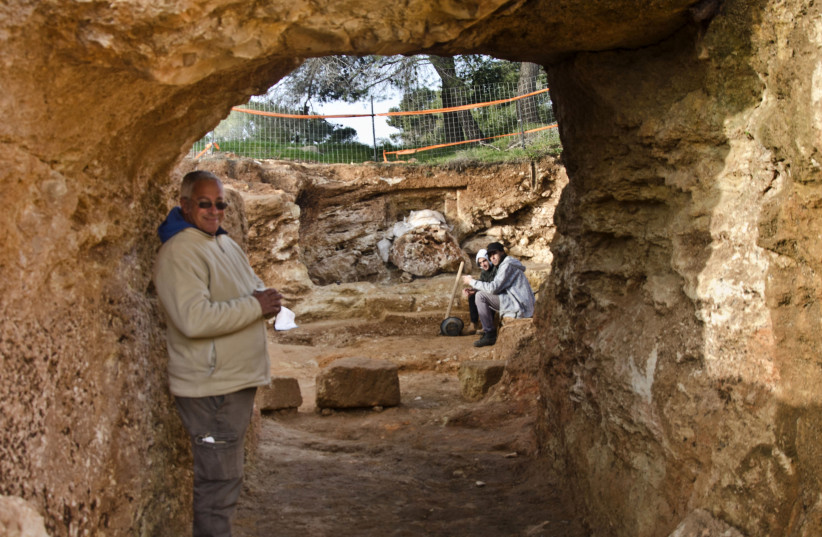 Archaeologist Yaakov Billig stands next to impressive discoveries from the Second Temple period in Jerusalem's Sharafat neighborhood, March, 2019 (photo credit: Israel Antiquities Authority)