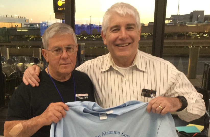 Jerome Baxley on his way to volunteer in Israel, with Lou Balcher, National Director of American Friends of Kaplan Medical Center (photo credit: Courtesy)