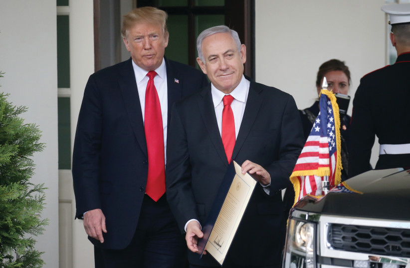 US PRESIDENT Donald Trump sees Prime Minister Netanyahu off from the White House in Washington (photo credit: REUTERS)