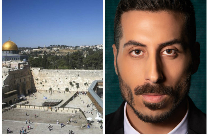 Israel's Eurovision contestant Kobi Merimi and the Western Wall in Jerusalem (photo credit: MARC ISRAEL SELLEM/COURTESY)