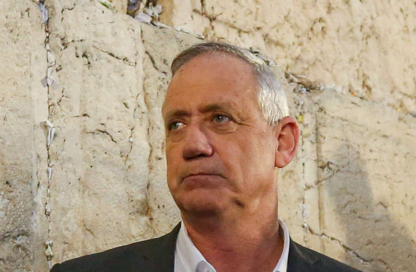 Benny Gantz, chairman of the Blue and White party, at the Western Wall, March 28th, 2019 (photo credit: MARC ISRAEL SELLEM/THE JERUSALEM POST)