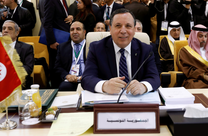 Tunisia's Foreign Affairs Minister Khemaies Jhinaoui attends a preparatory meeting between Arab foreign ministers ahead of the Arab summit in Tunis, Tunisia March 29, 2019. (photo credit: ZOUBEIR SOUISSI / REUTERS)