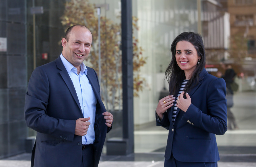 Head of the New Right Party Naftali Bennett and Justice Minister Ayelet Shaked, 2019. (photo credit: MARC ISRAEL SELLEM)