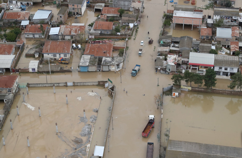 An aerial view of flooding in Golestan province, Iran March 27, 2019 (photo credit: IRANIAN PRESIDENCY WEBSITE/HANDOUT VIA REUTERS)
