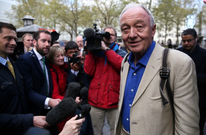 Former London mayor Ken Livingstone speaks to the media after appearing on the LBC radio station in London, Britain, April 30, 2016 (photo credit: NEIL HALL/REUTERS)