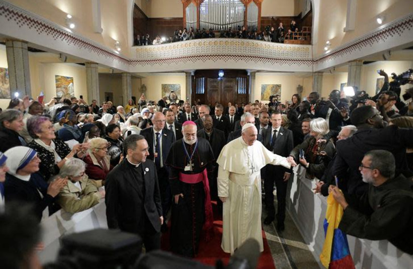 Pope Francis is seen during a meeting with representatives of other Christian denominations at Saint Peter's Cathedral in Rabat, Morocco, March 31, 2019 (photo credit: REUTERS)