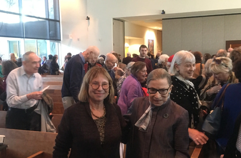 Supreme Court Justice Ruth Bader Ginsburg and Fania Oz-Salzberger on Sunday (photo credit: DANNIELLE BLUMENTHAL)