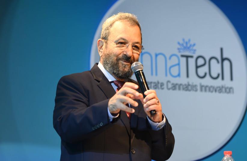 Former prime minister Ehud Barak spoke at the two-day CannaTech Tel Aviv conference on April 1st, 2019 (photo credit: AVSHALOM SASSONI/ MAARIV)