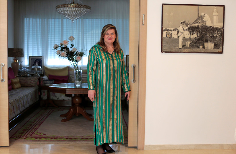Suzanne Harroch, a Jewish Moroccan singer poses for a portrait in her house in Rabat, Morocco March 29, 2019 (photo credit: YOUSSEF BOUDLAL / REUTERS)
