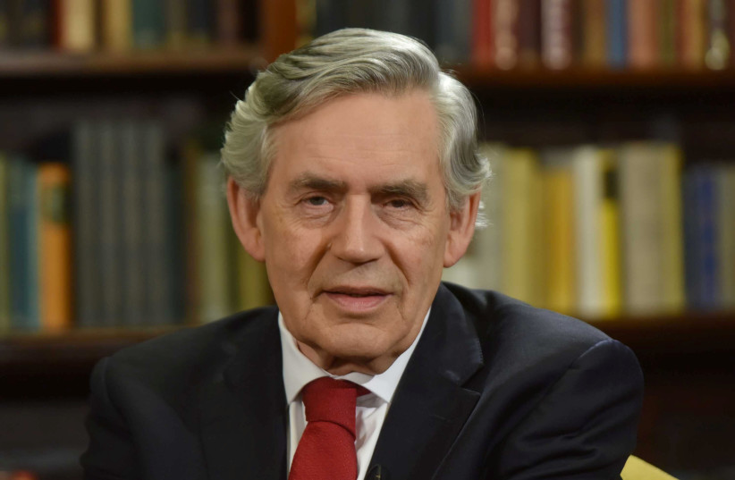 Britain's ex-Prime Minister Gordon Brown appears on the Marr Show on BBC television in London, Britain, June 10, 2018 (photo credit: JEFF OVERS/BBC/HANDOUT VIA REUTERS)