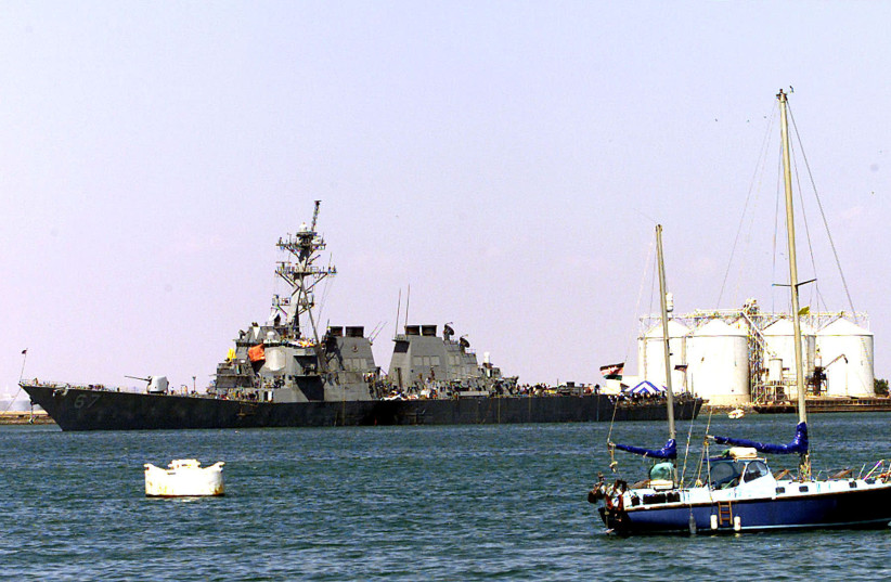THE U.S NAVY WARSHIP, COLE, FLOATS IN THE IN THE PORT OF ADEN. (photo credit: ALADIN ABDEL NABY)