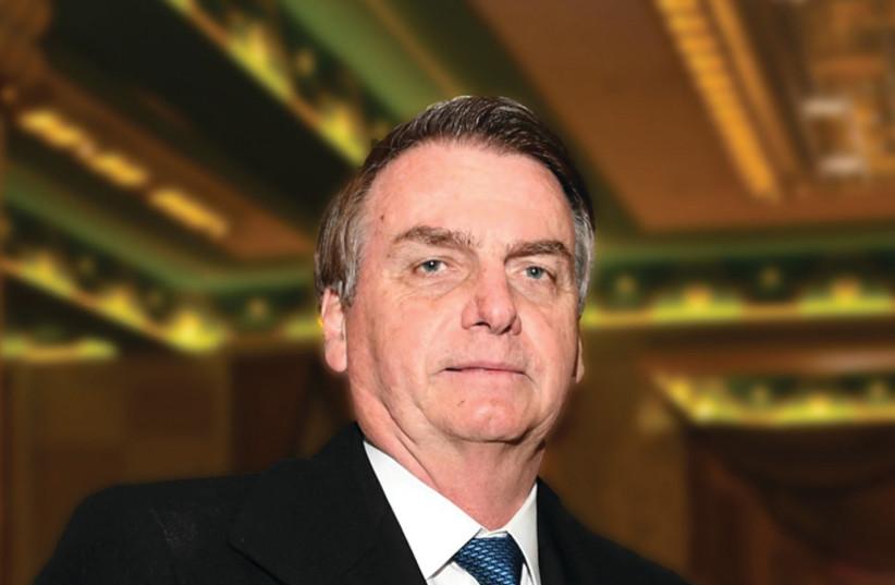 BRAZILIAN PRESIDENT Jair Bolsonaro receives the Friends of Zion Award in Jerusalem (photo credit: PETER HALMAGYI)